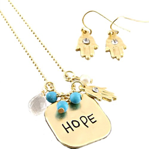 Fashion Necklace and Earring Set with Matte Gold Plated Necklace With Hope