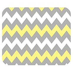 Grey Vs Young Yellow Chevron Zigzag Pattern Unique Custom Mouse Pad Mousepad