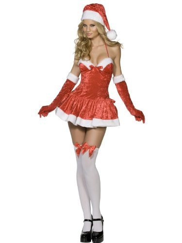 Female Christmas Fancy Dress Naughty Miss Santa Costume UK Dress 12-14