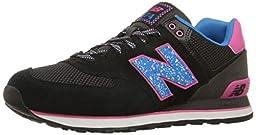 New Balance Women\'s WL574 Outside In Pack Classic Running Shoe, Black/Blue, 8.5 B US