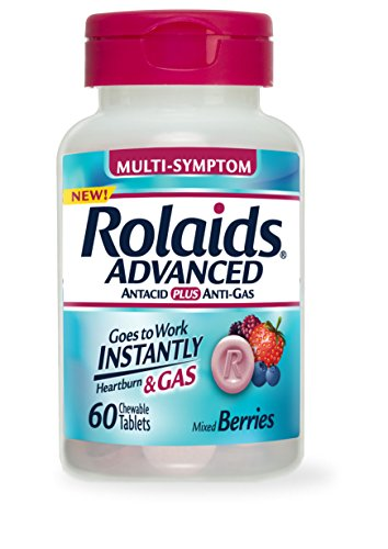 Rolaids Advanced Antacid Plus Anti Gas Tablets Mixed Berry, 60 Count (Antacid Gas compare prices)