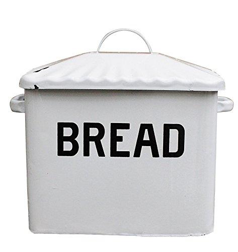 creative-co-op-enameled-metal-bread-box-white