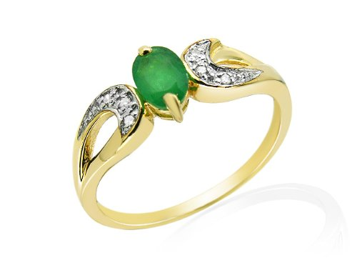 9ct Yellow Gold Emerald and 0.26ct Diamond Ring - Size N