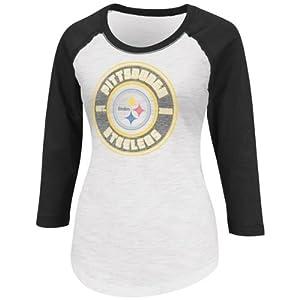 Pittsburgh Steelers Women's Sport Princess II Raglan Slub 3/4 Sleeve Top
