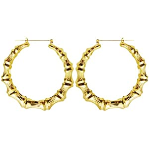 "Old School Style 2.5"" Bamboo Hoops Hoop Earrings, in Gold"