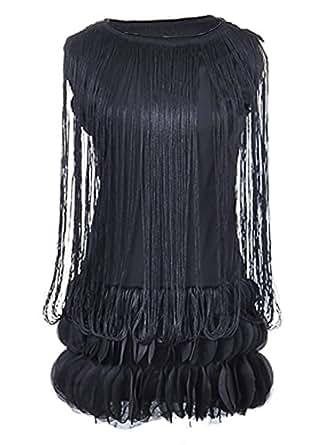 Anna-Kaci S/M Fit Black Fringe Sleeveless Flower Petals Hem Flapper Party Dress
