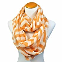 Peach & White Chevron Striped Lightweight Infinity Circle Scarf