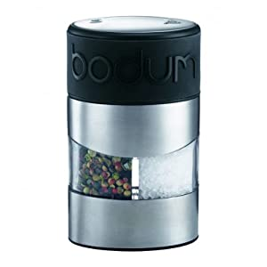 Bodum Twin Manual Salt and Pepper Grinder with Silicone Band - Black