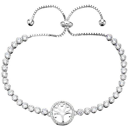 EleQueen argento 925 completa Zirconia cubico albero della vita nuziale della catena del braccialetto regolabile Cancella rodio