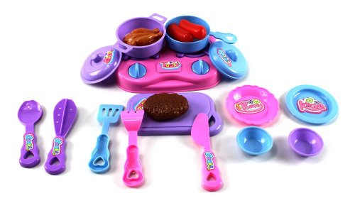 Little Avant Chef Pretend Play Toy Cooking Kitchen Play Set, Comes w/ Toy Food, Stove Top, Pots, Plates, Kitchen Utensils (Styles May Vary)