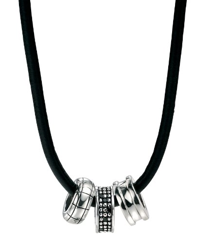 Fred Bennett Sterling Silver Mens Multi Bead Necklace on Leather Thong of 51cm N3044