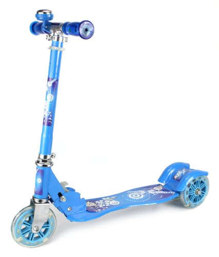 Urban Rider Children'S Three Wheeled Metal Toy Kick Scooter W/ Light Up Wheels, Handlebar Bell (Blue)