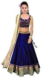 Clickedia Kids wear Girls Navy Blue Bhagalpuri Silk t Lehenga Choli/ Chaniya Choli-3360 for Festive???? Diwali and wedding - traditional wear ( 8-12 yrs)- Semi-Stitched alterable
