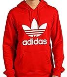 adidas(アディダス) オリジナルス トレフォイル 三つ葉ビッグロゴ フーディー プルオーバー パーカー フード付トレーナー Originals Trefoil Hoody メンズ レディース 男性女性兼用 RED 赤色 【並行輸入品】