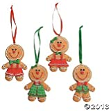 """Dozen (12) Adorable Big Head GINGERBREAD Man/Boy/Girl Cookie CHRISTMAS Tree ORNAMENTS/GLITTERY Resin 3.5"""" Decorations/HOLIDAY DECOR/CANDY/Sweets"""