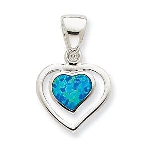 IceCarats Designer Jewelry Sterling Silver Created Blue Opal Inlay Heart Pendant
