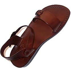 Unisex Adults/Children Genuine Leather Biblical Sandals / Flip flops (Jesus - Yashua) Jerusalem Style II - Holy Land Market Camel Trademark
