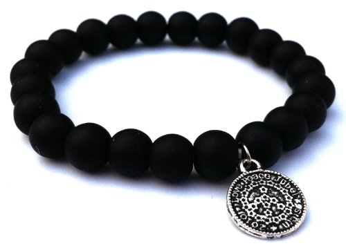 Jubel & Stern, cool Youngster stretchy bracelet, elastic, with matt onyx pearls with small coins