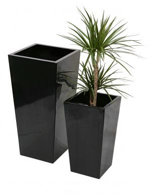 Tall Flared Square Fibreglass Planter - Gel Coat Black - Extra Large
