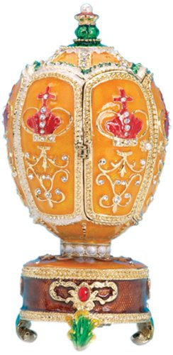 "MusicBox Kingdom 23811 Jewellery Egg in Faberge Style with The Melody Playing ""Swan Lake"" Music Box"