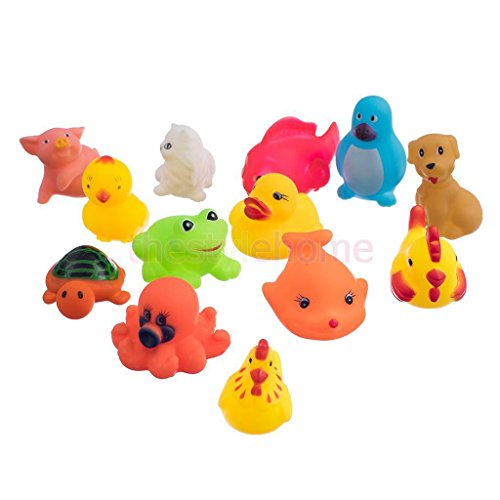 13Pcs assorted cute soft rubber float sqeeze sound baby wash bath play toy, animals toys (Usa Made Stuffed Animals compare prices)