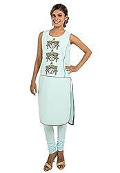 Kandida Women Durga Print Sleeveless Cotton Kurta (k-fbc-durga-sb1 _Blue_S)