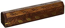 Store Indya Handmade Wooden Coffin Incense Stick / Cone Burner Holder with Storage Compartment & Elephant Brass Inlay, 12 x 2 inches