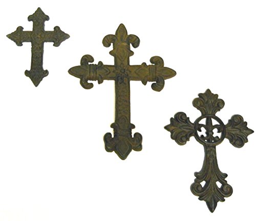 3 pc Set Cast Iron Wall Crosses #1