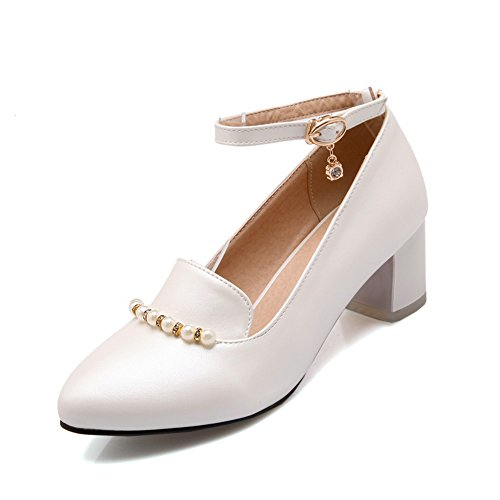 Summerwhisper Women's Rhinestone Pearl Ankle Strap Pumps Pointed Toe Chunky Mid Heel Shoes White 9.5