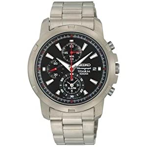 Click to buy Seiko Watches for Men: Seiko Black Dial Silver Tone Titanium Alarm Chronograph Mens Watch - SNAE47 from Amazon!