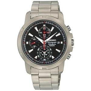 Seiko Black Dial Silver Tone Titanium Alarm Chronograph Mens Watch - SNAE47