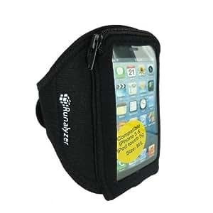 Runalyzer® [Noir, Taille M/L] - Petit brassard sport souple et léger avec fermeture éclair pour iPhone 5 et iPod touch 5G