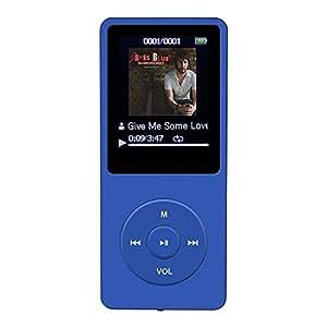 AGPtEK A02 音楽再生なら最大70時間のロスレスサウンドMP3プレーヤー(容量8GB マイクロSDカード64GB)(ディープブルー)