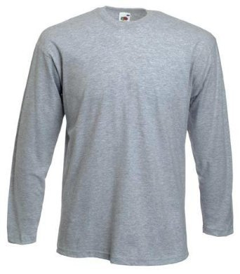 """FRUIT OF THE LOOM LONG SLEEVE T SHIRT (S-XXL) (SMALL - 36/38"""", HEATHER GREY)"""