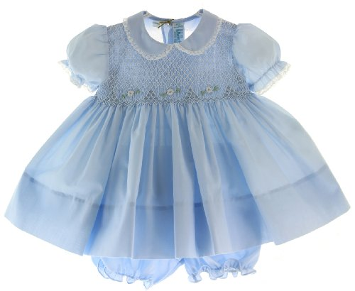Girls Blue Smocked Portrait Dress With Collar Feltman Brothers (3M) front-402463