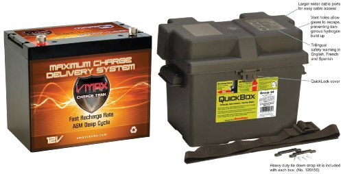 Vmax Mr107 85Ah Marine 12V Battery + Battery Box: 12 Volt Mr107 Group 24 Marine 85Ah Battery, Agm Sla Deep Cycle Hi Performance Battery Ideal For Boat 40Lb-55Lb Thrust Minn Kota, Minnkota, Cobra, Sevylor And Other Trolling Motors. Marine Grade Group 24 Ba