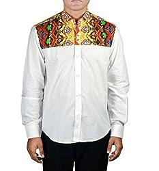 Riverbero Men's Casual Shirt (SN_DFS_210_White_38)