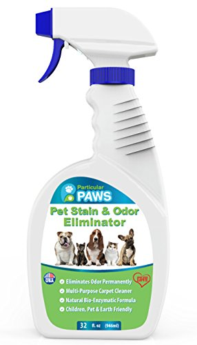 Pet Stain and Odor Remover - Professional Strength Triple Action Enzyme Spray Eliminates Dog and Cat Urine Stains and Smells - 32 oz