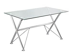 Mesa escritorio cristal hogar for Mesa jardin cristal amazon