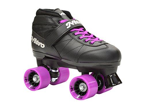 New-Epic-Super-Nitro-Black-Purple-Indoor-Outdoor-Quad-Roller-Speed-Skates-w-2-Pair-of-Laces-Purple-Black