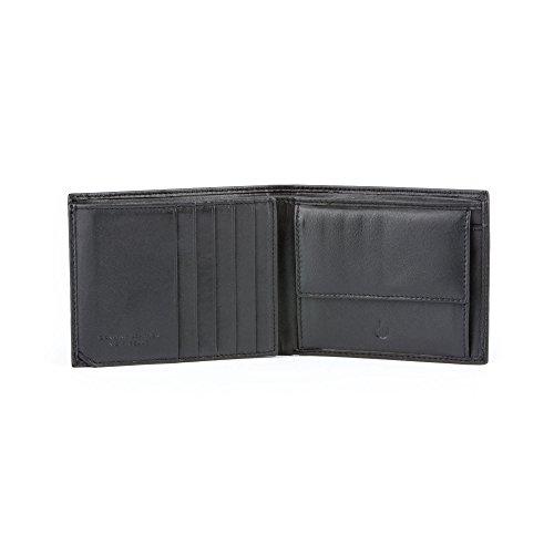 Portafoglio uomo in pelle Nappa porta carta d'identità portacarte e vano portamonete DV Nero