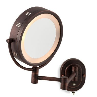 "SeeAll 8"" Oil Rubbed Bronze Finish Dual Sided Surround Light Wall Mount Makeup Mirror"