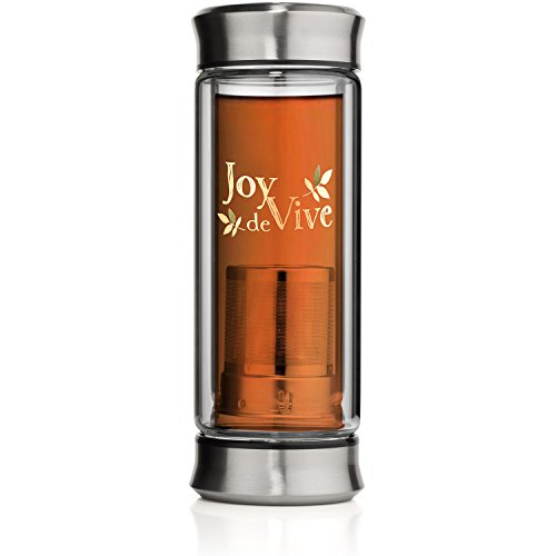 Glass Tea Infuser - 10 Ounces Travel Size - Double Wall Glass Tea Tumbler, Portable Teapot, Tea Steeper, Tea Brewer, Tea Maker, Tea Mug, Tea Cup, Water Bottle, Fruit Tumbler (Double Walled Electric Kettle compare prices)