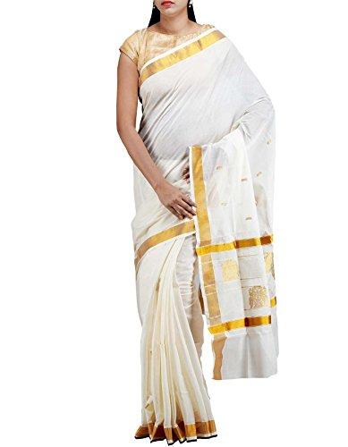 Unnati Silks Cotton Saree with Blouse (UNM7689_Cream)