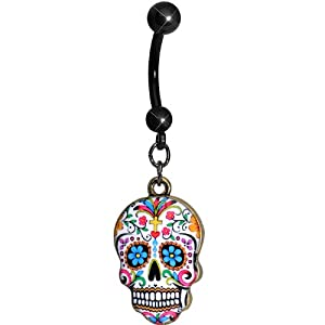 Faith and Flowers Sugar Skull Dangle Belly Ring by Body Candy