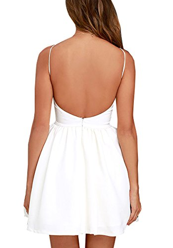 FANCYINN Women Sexy Backless Spaghetti Strap Floral Print Short Mini Casual Dress White M