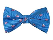 100% Silk Woven Cornflower Blue Pigs Fly Patterned Self-Tie Bow Tie