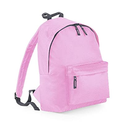 Plain 2 Pocket Backpack Rucksack School Bag Choose Your Colour (Classic Pink)