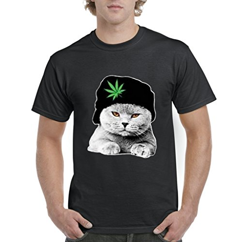 Acacia Dope Diamond Cat with Weed Leaf Hat - 420 Pot Series Mens T-shirt Tee Medium Black (Diamond Supply Co T Shirt Womens compare prices)