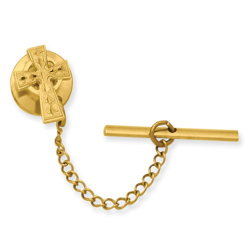 Gold-plated Celtic Cross Tie Tack